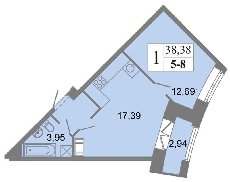 Планировка Двухкомнатная квартира (Евро) площадью 38.38 кв.м в ЖК «Архитектор»