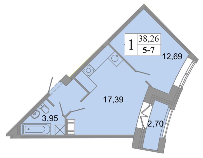 Планировка Двухкомнатная квартира (Евро) площадью 38.26 кв.м в ЖК «Архитектор»