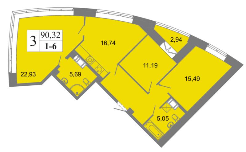 Планировка Трёхкомнатная квартира площадью 90.32 кв.м в ЖК «Архитектор»