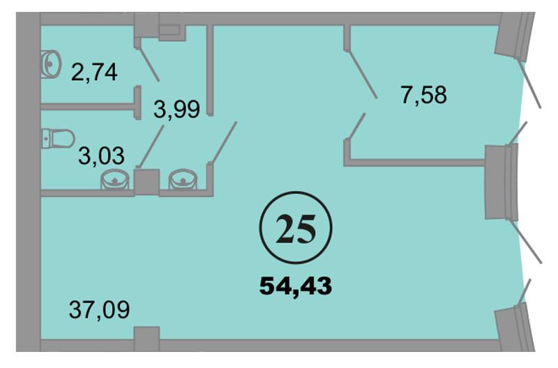 Планировка Коммерческое помещение площадью 54.43 кв.м в ЖК «Архитектор»
