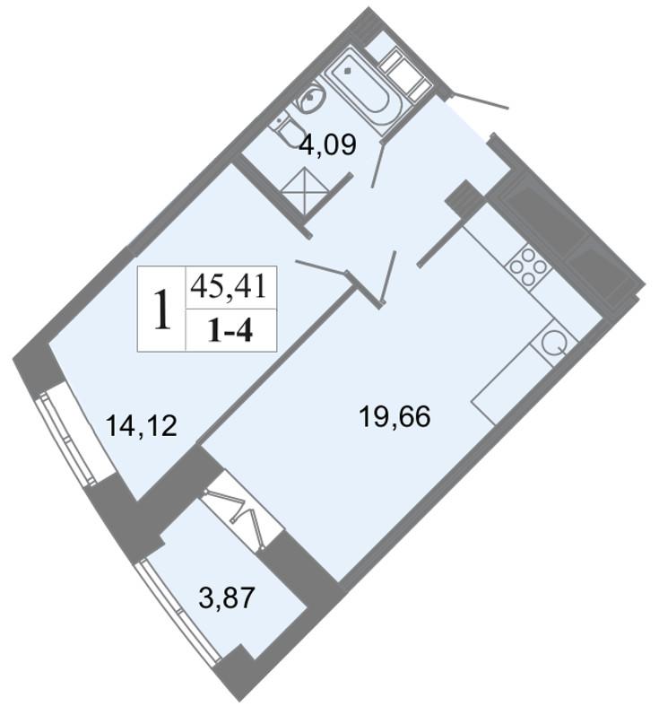 Планировка Однокомнатная квартира площадью 45.41 кв.м в ЖК «Архитектор»