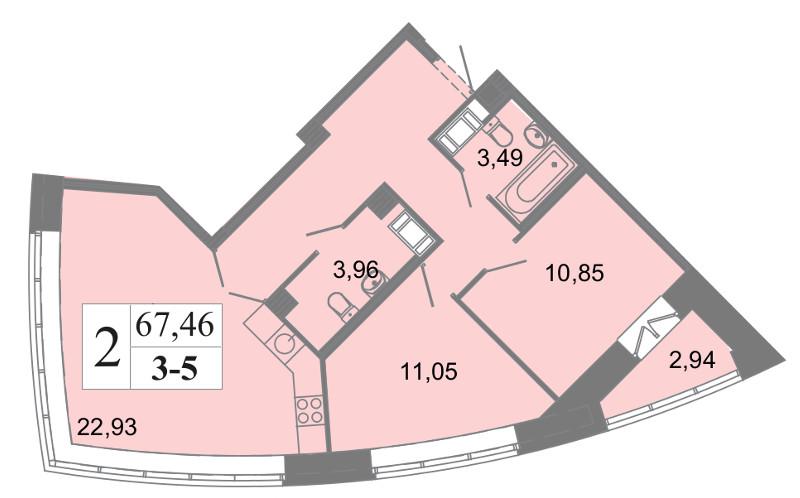 Планировка Трёхкомнатная квартира (Евро) площадью 67.46 кв.м в ЖК «Архитектор»