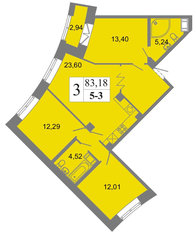 Планировка Четырёхкомнатная квартира (Евро) площадью 83.18 кв.м в ЖК «Архитектор»