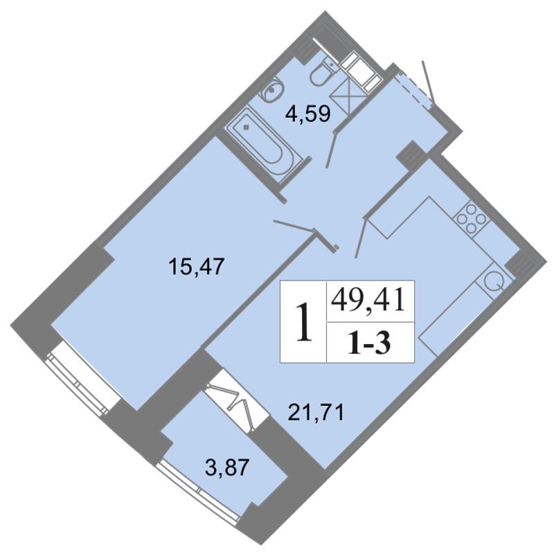 Планировка Однокомнатная квартира площадью 49.41 кв.м в ЖК «Архитектор»