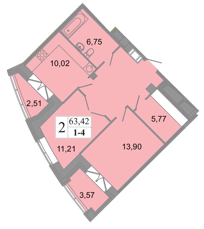 Планировка Двухкомнатная квартира площадью 63.42 кв.м в ЖК «Архитектор»
