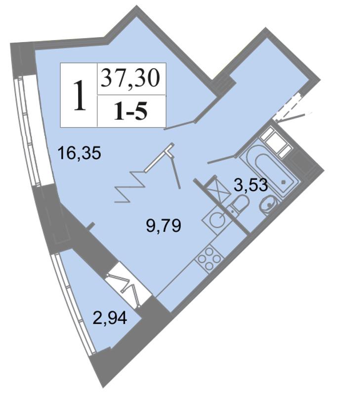 Планировка Однокомнатная квартира площадью 37.3 кв.м в ЖК «Архитектор»