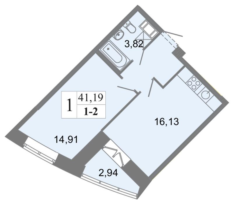 Планировка Однокомнатная квартира площадью 41.19 кв.м в ЖК «Архитектор»