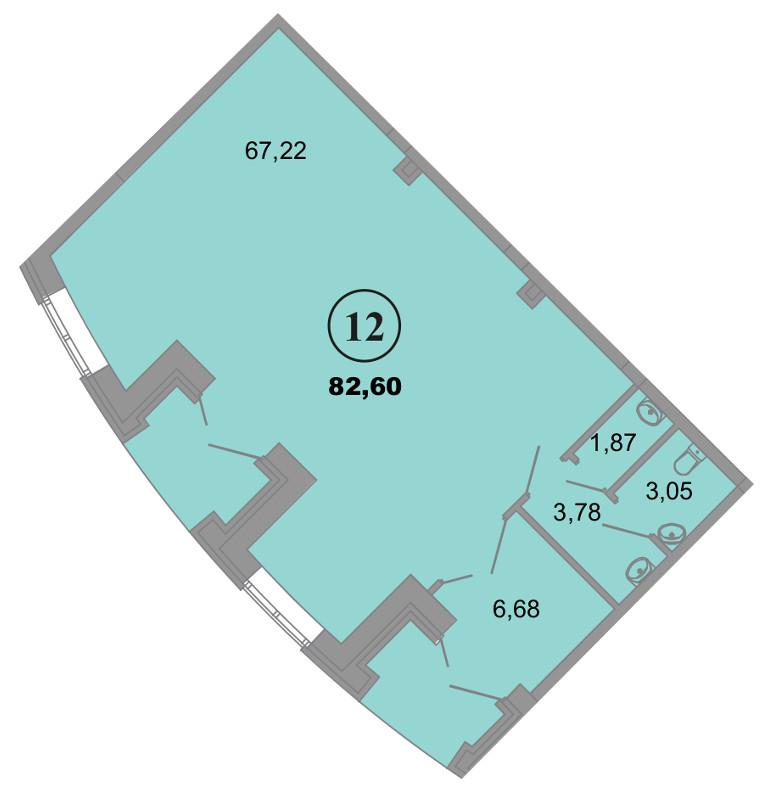 Планировка Коммерческое помещение площадью 82.6 кв.м в ЖК «Архитектор»