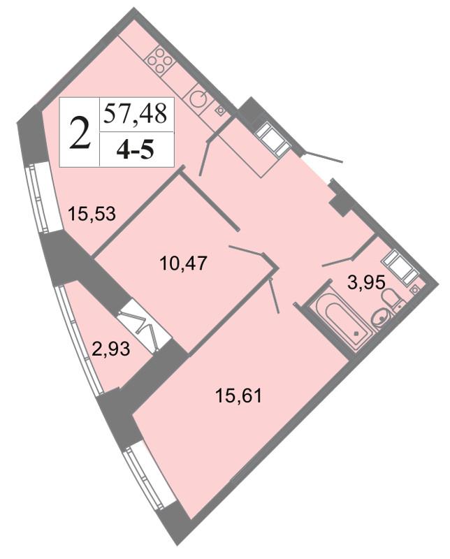 Планировка Двухкомнатная квартира площадью 57.48 кв.м в ЖК «Архитектор»
