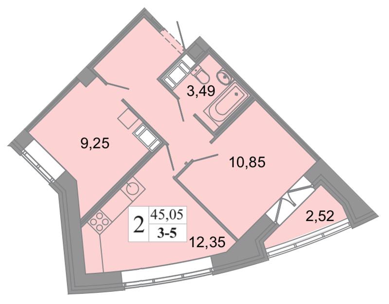 Планировка Трёхкомнатная квартира (Евро) площадью 45.05 кв.м в ЖК «Архитектор»