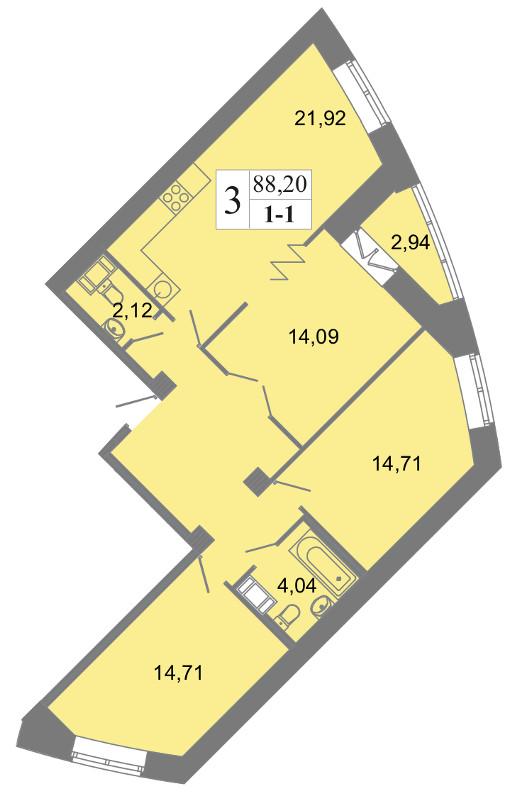 Планировка Трёхкомнатная квартира площадью 88.2 кв.м в ЖК «Архитектор»