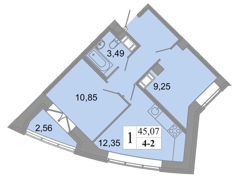 Планировка Трёхкомнатная квартира (Евро) площадью 45.07 кв.м в ЖК «Архитектор»