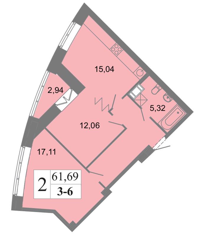 Планировка Двухкомнатная квартира площадью 61.69 кв.м в ЖК «Архитектор»