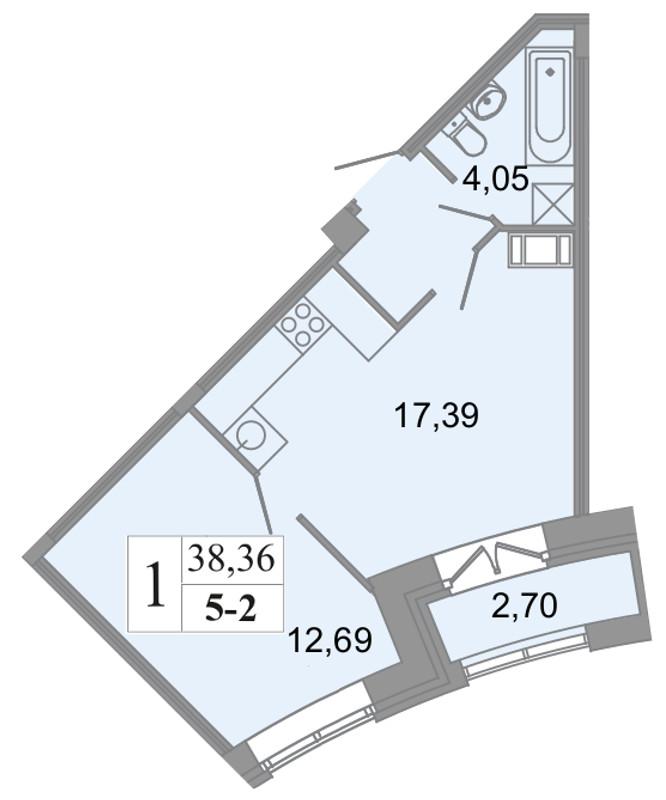 Планировка Двухкомнатная квартира (Евро) площадью 38.36 кв.м в ЖК «Архитектор»
