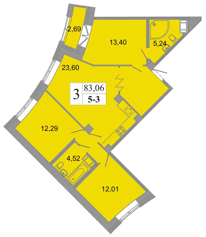 Планировка Четырёхкомнатная квартира (Евро) площадью 83.06 кв.м в ЖК «Архитектор»