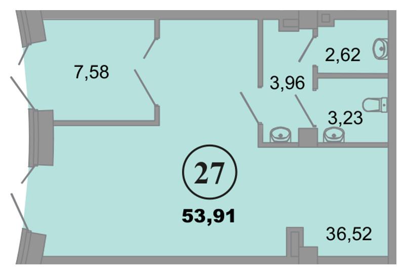 Планировка Коммерческое помещение площадью 53.91 кв.м в ЖК «Архитектор»